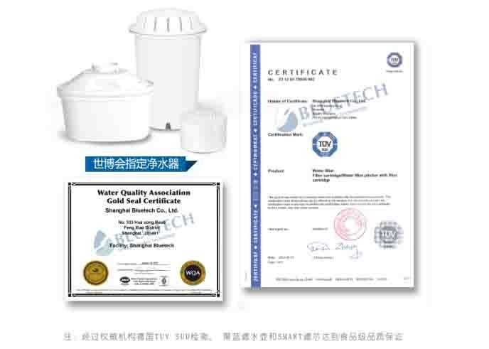 WQA and TUV certified replacement water pitcher filter 5 layer filtration